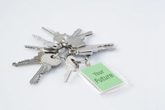 Claves con la etiqueta su futuro, concepto del asunto foto de archivo
