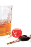 Claves de los dados y del coche del whisky Imagen de archivo libre de regalías