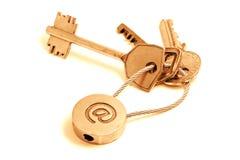 Claves de oro del email Foto de archivo libre de regalías