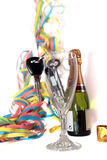 Claves del coche dentro de la flauta de champán Fotos de archivo libres de regalías