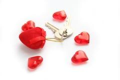 Claves del corazón Fotos de archivo