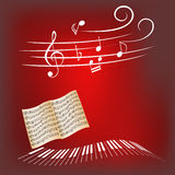 Claves del piano y notas de la música Imágenes de archivo libres de regalías