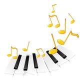 Claves del piano y notas de oro Imagenes de archivo