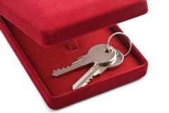 Claves en el rectángulo de regalo rojo aislado Imagenes de archivo