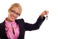 Claves sonrientes de la mujer de negocios Fotografía de archivo