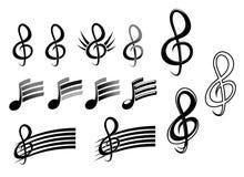 Claves y notas de la música ilustración del vector