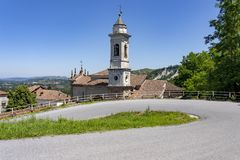 Road to Mondovi at Clavesana. Clavesana, Cuneo, Piedmont, Italy: historic church along the road to Mondovi royalty free stock photos