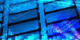 Clavier avec des codes de programmation rougeoyants Images stock