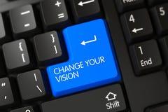 Clavier avec la clé bleue - changez votre vision 3d Photos stock
