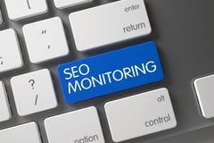 Clavier avec la clé bleue - SEO Monitoring 3d Images libres de droits