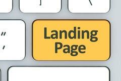 Clavier avec le bouton de page d'atterrissage Clavier blanc d'ordinateur avec Photographie stock libre de droits