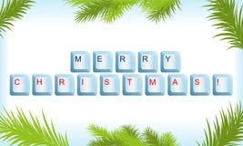 Clavier avec le cadre d'arbre de Noël Image libre de droits