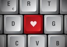Clavier avec le coeur Image stock