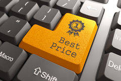 Clavier avec le meilleur bouton des prix. Image stock