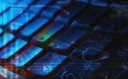 Clavier avec les icônes rougeoyantes de technologie de nuage Images stock