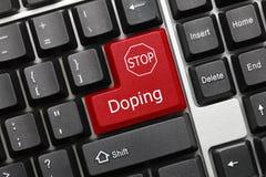 Clavier conceptuel - dopage de la clé rouge avec le signe d'ARRÊT photo stock