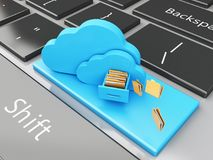 clavier 3d avec le stockage de fichier en nuage Image libre de droits