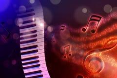 Clavier d'illustration avec l'horizon rouge et bleu noir de fond Image libre de droits