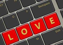 Clavier d'ordinateur avec des boutons d'amour Photo libre de droits