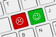 Clavier d'ordinateur avec deux clés de sourire Photographie stock libre de droits