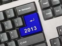 Clavier d'ordinateur avec la clé 2013 Photographie stock libre de droits