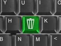 Clavier d'ordinateur avec la clé d'ordures image stock