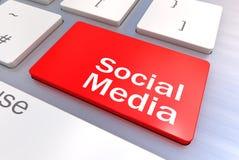 Clavier d'ordinateur avec un concept social de media illustration de vecteur
