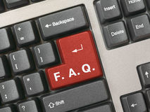 Clavier d'ordinateur - introduisez le FAQ Images stock