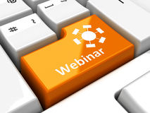 Clavier d'ordinateur webinar Photos stock
