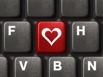Clavier de PC avec la clé d'amour Photo libre de droits