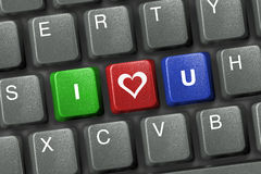 Clavier de PC avec trois clés d'amour Images libres de droits