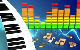 clavier de piano audio du spectre 3d Illustration Stock