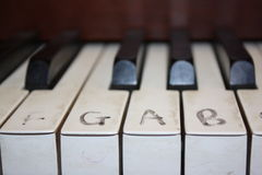 Clavier de piano avec des notes Images libres de droits