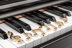 Clavier de piano avec des notes de musique, concept de musique rendu 3d Image libre de droits