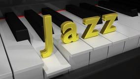 Clavier de piano de jazz avec des lettres d'or Images libres de droits