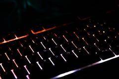 Clavier lumineux pour le PC de jeu photographie stock