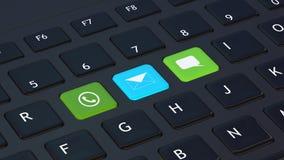 Clavier noir avec des icônes d'apps Image stock