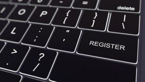 Clavier noir d'ordinateur et touche rougeoyante de s'inscrire Rendu 3d conceptuel Photos libres de droits