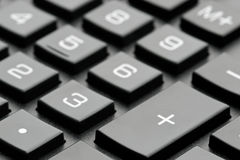 Clavier noir de calculatrice Image stock