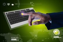 Clavier numérique émouvant d'homme d'affaires Images libres de droits