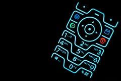 Clavier numérique lumineux de téléphone portable Photographie stock
