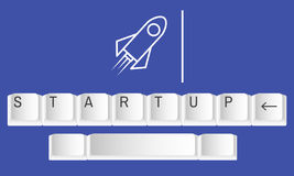 Clavier Rocket Start Up Icon Photos stock