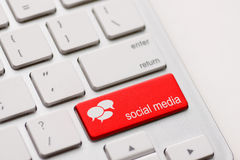 Clavier social de media Images libres de droits
