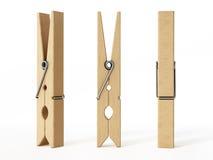 Clavijas de madera aisladas en el fondo blanco ilustración 3D stock de ilustración