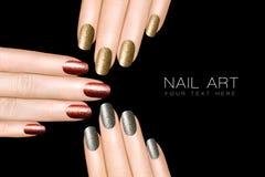 Clavo Art Trend Esmalte de uñas de lujo del brillo Etiquetas engomadas del clavo Foto de archivo libre de regalías