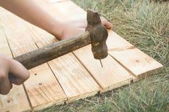 Clavo principal del martillo en un tablero de madera en la hierba imagen de archivo
