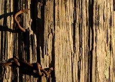Clavos aherrumbrados en la cerca vieja Post Close Up fotografía de archivo