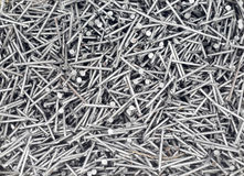 Clavos de acero de plata Foto de archivo libre de regalías