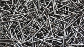 Clavos de acero de plata Imagen de archivo libre de regalías