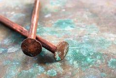 Clavos de cobre Foto de archivo